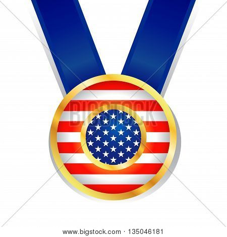 Vector stock of American independence day symbol in shiny medal and ribbon