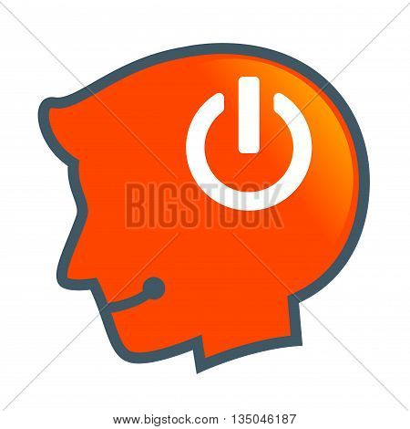 Vector stock of human head silhouette with Power On Symbol inside