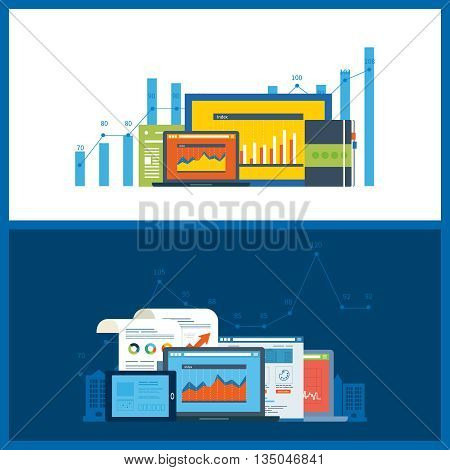 Flat design illustration concepts for business analysis, financial statement, consulting, team work, project management and development. Concepts web banner and printed materials.
