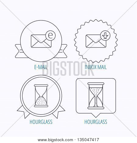 Hourglass, inbox mail and e-mail icons. Hourglass linear sign. Award medal, star label and speech bubble designs. Vector