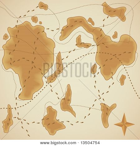 Background Of Old Style Map