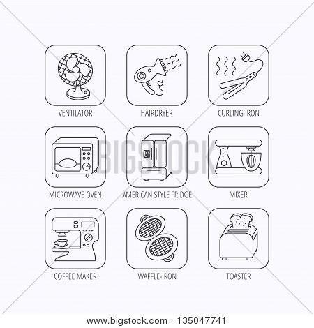 Microwave oven, hair dryer and blender icons. Refrigerator fridge, coffee maker and toaster linear signs. Ventilator, curling iron and waffle-iron icons. Flat linear icons in squares on white background. Vector