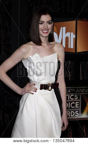 Anne Hathaway at the VH1's 14th Annual Critics' Choice Awards held at the Santa Monica Civic Auditorium in Santa Monica, USA on January 8, 2009.