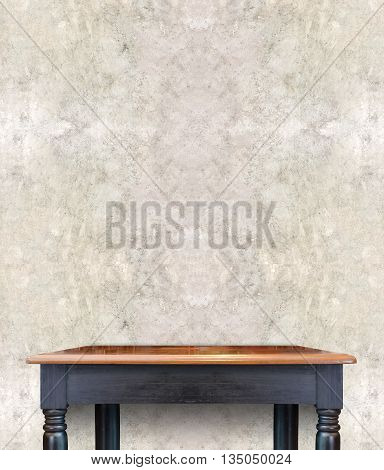 Wood table with concrete wall,Mock up for display of product