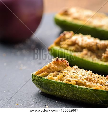 zucchini filled with meat and stuffed in oven