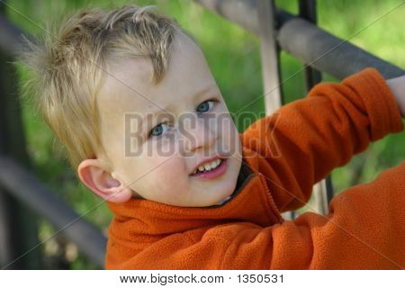 Toddler Boy Climbing On A Fence Outside