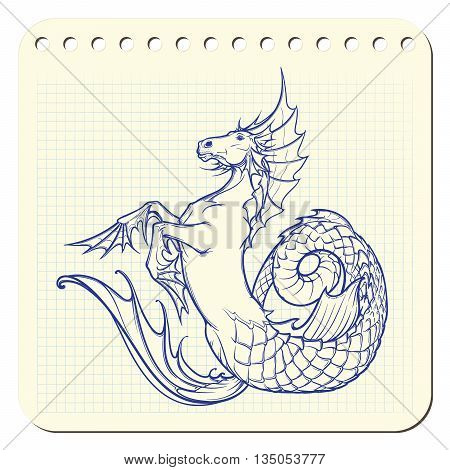 Hippocampus greek mythological creature. Kelpie scottish fairy tale water horse. Notepad hand drawing. EPS10 vector illustration.