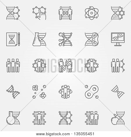 Human cloning icons set. Vector DNA and science symbols in thin line style. Linear molecular signs or logo elements