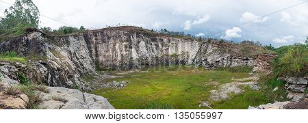 Panorama View Of A Stone Quarry In Countryside
