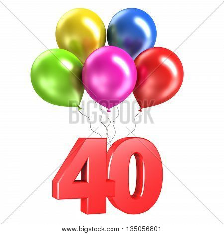 3d rendering model shiny balloons on white background