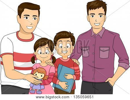 Illustration of a Same Sex Couple with Their Children