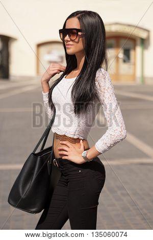 Brunette Summer Fashion Beauty.
