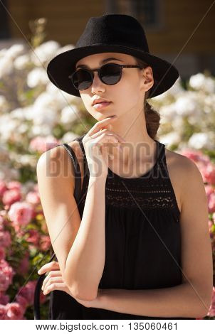 Brunette Summer Fashion Beauty Outdoors.