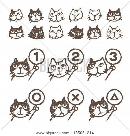 Various kinds of cats face ranking illustration