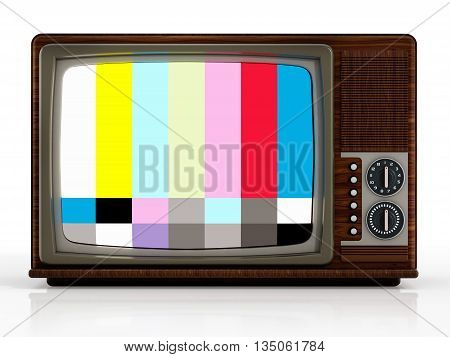 Old analogue television with test screen. 3D illustration.
