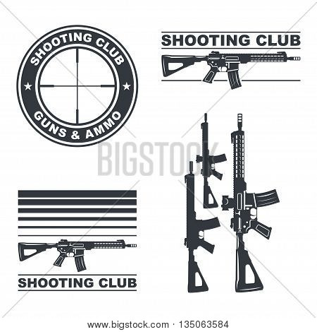 Shooting club vector emblem, labels, badges, logos illustration. Shooting weapon, shooting badge, shooting emblem and shooting label. EPS10