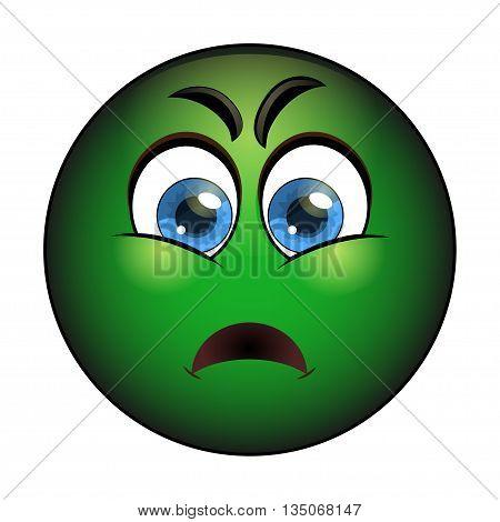 Sick green smiley. Emoticon with nausea. Vector