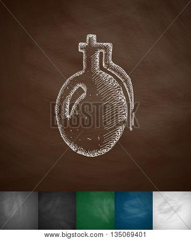 grenade icon. Hand drawn vector illustration. Chalkboard Design