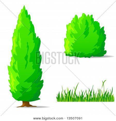 Set Of Cartoon Green Plants. Vertical Tree, Bush, Grass.