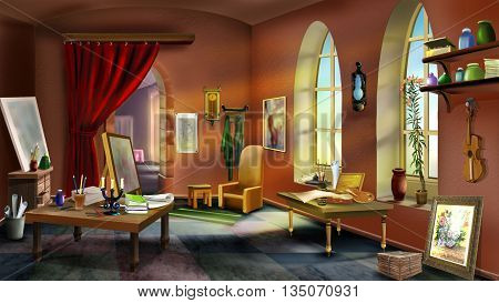 inside the artist's studio. Digital Painting in Realistic Cartoon Style