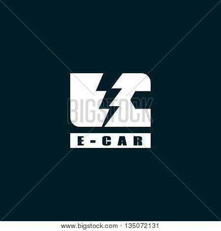 E-car logo eco car white,  concept, e-auto