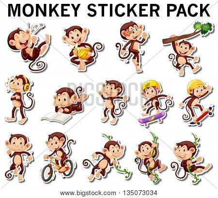 Set of monkey stickers in different posts illustration
