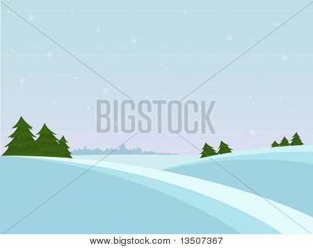 Snow christmas landscape