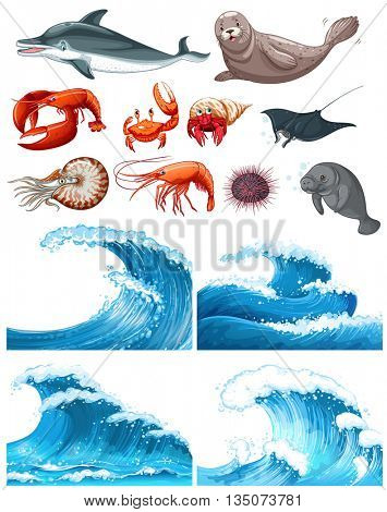 Ocean waves and sea animals  illustration