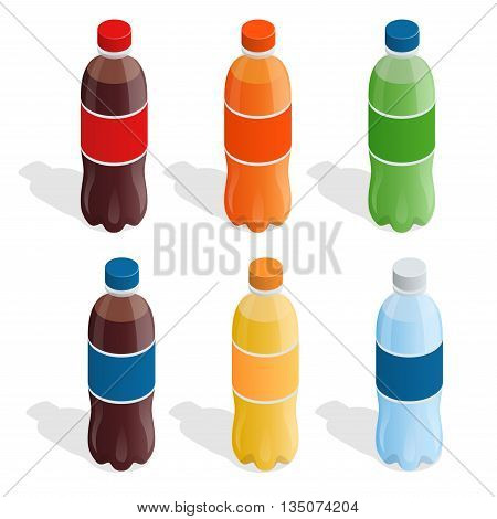 Drinks in bottles. Set of refreshing drinks in plastic bottles. Summer drinks Flat 3d vector isometric illustration