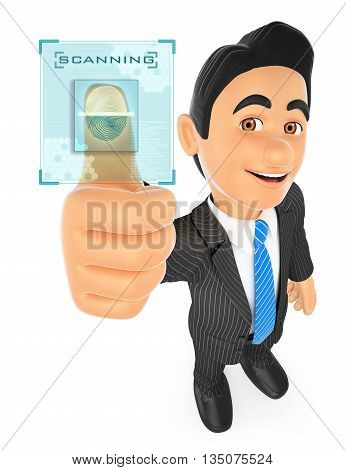 3d business people illustration. Businessman identifying with fingerprint. Isolated white background.