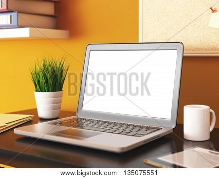 3D illustration office with blank laptop screen. Mockup