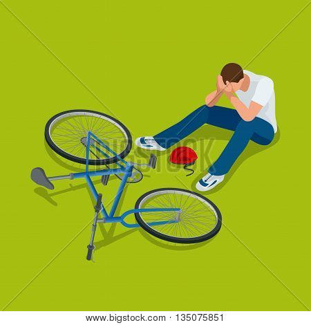 Bicycle accident. Man falls off his bicycle. Flat 3d vector isometric illustration