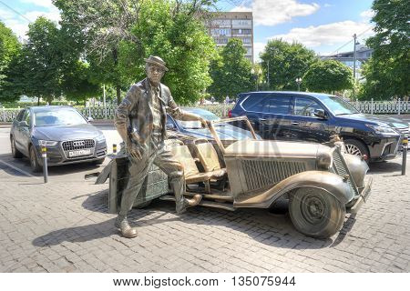 MOSCOW RUSSIA - June 14.2016: Sculptural composition on the Tsvetnoy Boulevard near the circus. Clown Yuri Nikulin sits in the car