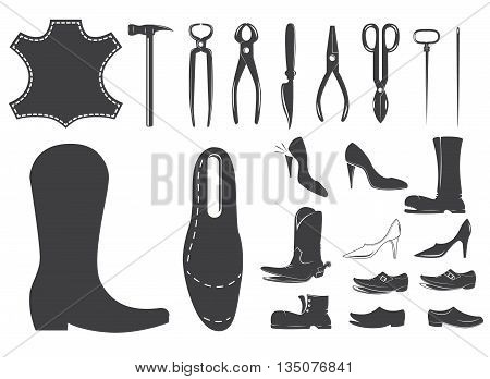 Shoes repair design elements. Leather workshop. Set of shoemaker tools. Design element for logo label emblem sign. Vector design element