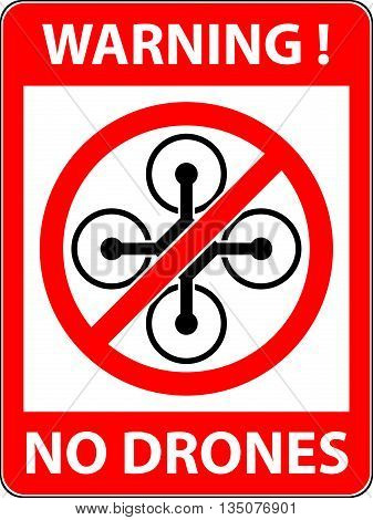 No drone multicopter prohibited symbol. Not fly zone. Sign indicating the prohibition or rule. Warning and forbidden. Flat design. Vector illustration. Easy to use and edit. EPS10.