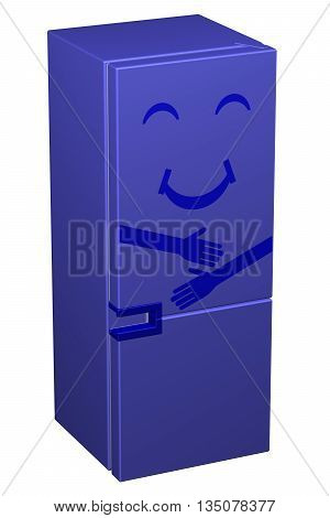Blue smiling refrigerator isolated on white background. 3D rendering.