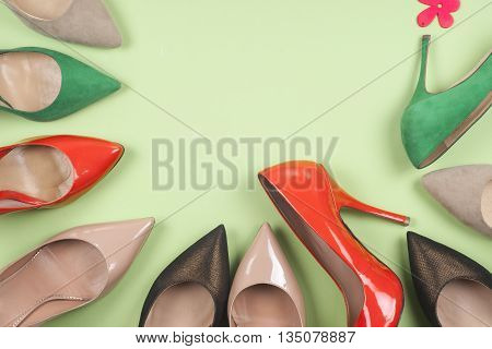 Picture Of Different Shoes, Shot Of Several Types Of Shoes, Several Designs Of Women Shoes. Leather