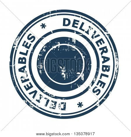 Deliverable business concept rubber stamp isolated on a white background.