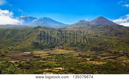 Valle De Arriba With Mount Teide In A Distance