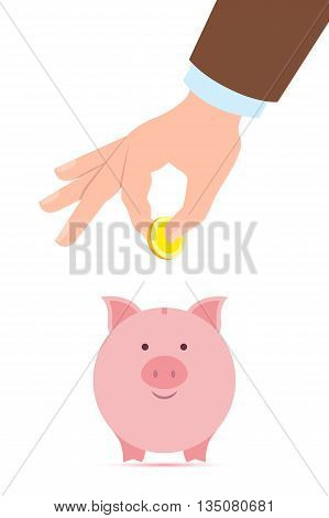 Hand with coin and piggy bank. Hand holding coin. Concept of savings, earnings. Collect to pig bank. Saving coins to piggy bank. White background.