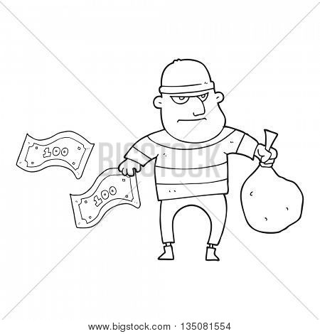 freehand drawn black and white cartoon bank robber