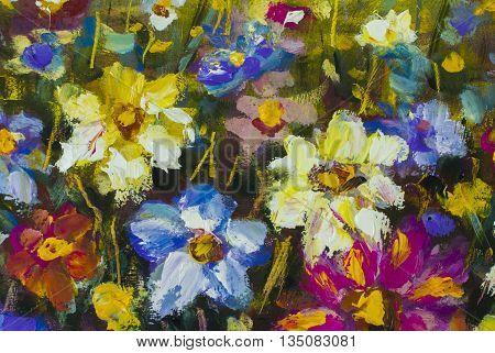 Big flowers. Close up fragment of oil painting artistic flowers image. Palette knife flowers macro. Macro artist's impasto flowers, texture mixed oil paints flowers.