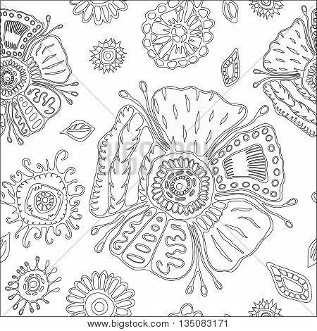 stock vector seamless flower doodle pattern. abstract art background