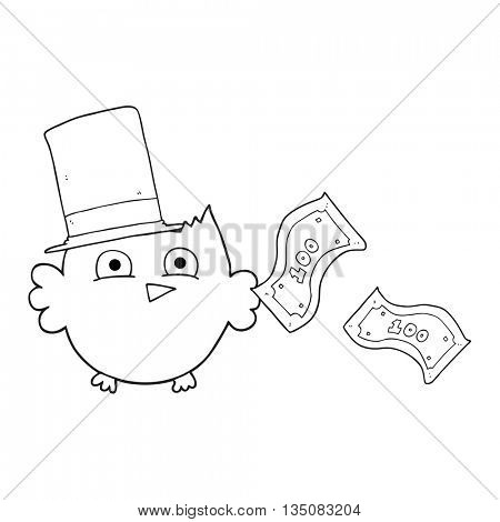 freehand drawn black and white cartoon wealthy little owl with top hat