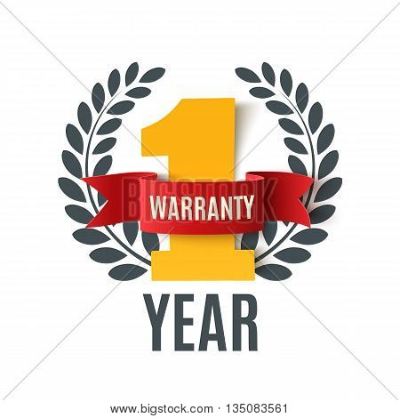 One Year Warranty background with red ribbon and olive branch on white. Poster, label, badge or brochure template. Vector illustration.