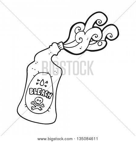 freehand drawn black and white cartoon bleach bottle squirting