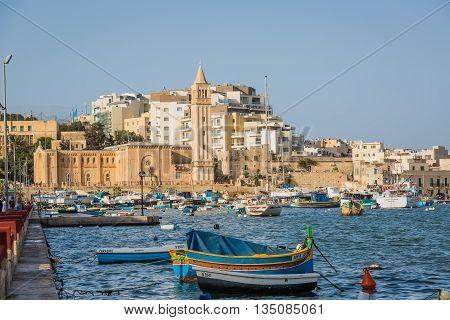 Marsaskala Malta - May 8 2016: Fishing shuttles in Il-Bajja ta' Marsascala on the Malta island.