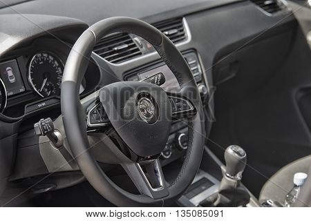 Wroclaw, Poland, May 28, 2016: Close Up On Skoda Octavia Sterring Wheel On Motoshow On May 28, 2016