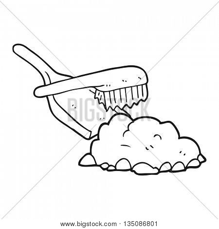 freehand drawn black and white cartoon dust pan and brush sweeping up rubble