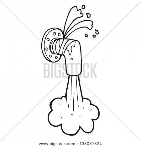 freehand drawn black and white cartoon leaky pipe